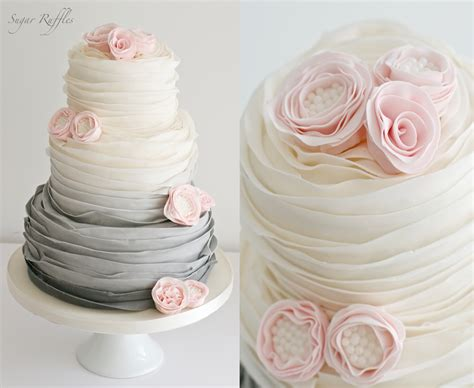 Grey Ombre Wedding Cake With Pink Ruffle Flowers