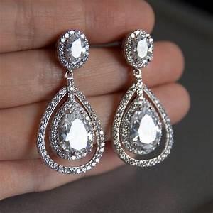 bridal earrings double teardrop bridal earrings chandelier With wedding ring earrings
