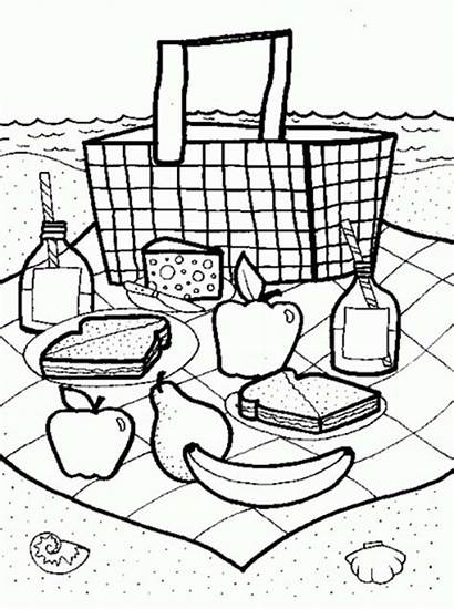 Picnic Coloring Pages Summertime Launch Blanket Picnics