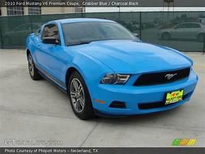 Grabber Blue - 2010 Ford Mustang V6 Premium Coupe - Charcoal Black Interior | GTCarLot.com ...