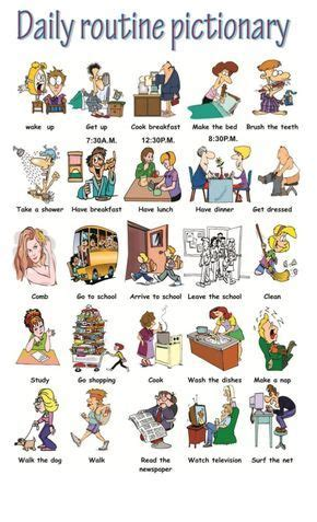 pictionary daily routines routine quotidienne la