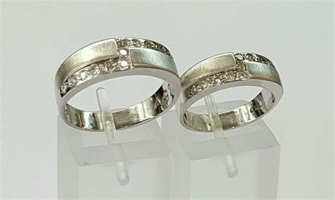 18k White Gold Genuine Round Diamond Set Of His And Hers