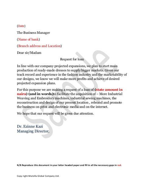loan aplication leter draft sle loan application letter