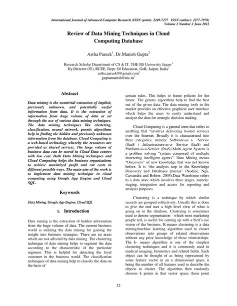 (PDF) Review of Data Mining Techniques in Cloud Computing