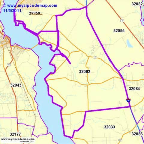 St. Augustine FL Zip Codes Map
