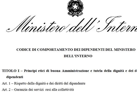 Www Ministerodell Interno It - codice di comportamento dei dipendenti ministero dell