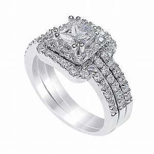 Sterling Silver Princess Cut Cubic Zirconia Engagement