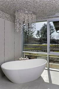 flush-mount-crystal-chandelier-Bathroom-Contemporary-with