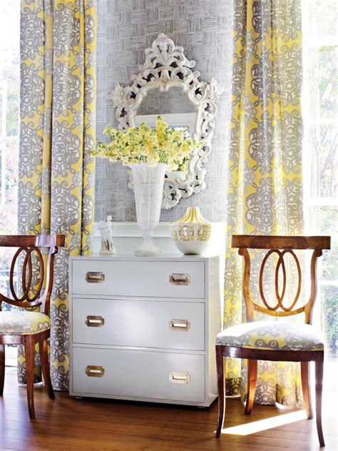 interior yellow and grey nursery drapes and bedding set