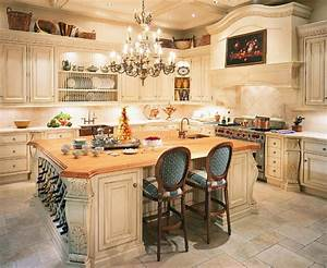 French country kitchens ideas in blue and white colors for Kitchen cabinet trends 2018 combined with large driftwood wall art