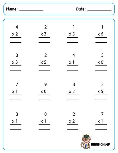 single digit multiplication facts worksheet multiplication brainchimp