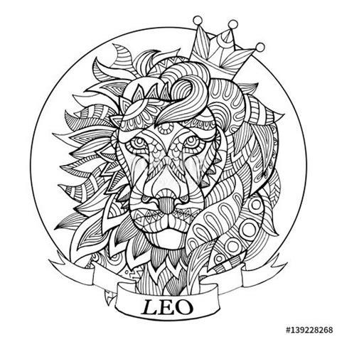 leo zodiac sign coloring page  adults fotolia