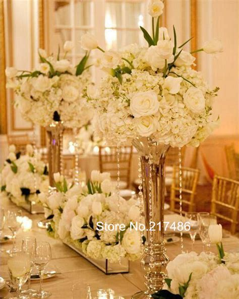 vases for wedding centerpieces gold polished metal trumpet vases wedding centerpieces