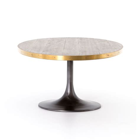 tulip table oval iron oak and brass tulip base dining table mecox
