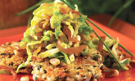 vegan sauteed slivered brussels sprouts  wild rice cakes recipe relish