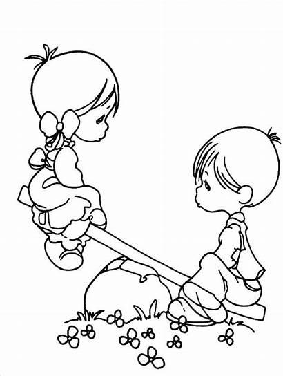 Precious Moments Coloring Pages Boy Cartoon Boys