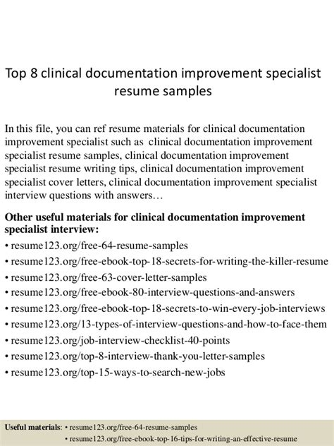Clinical Documentation Specialist Resume Sles by Top 8 Clinical Documentation Improvement Specialist Resume
