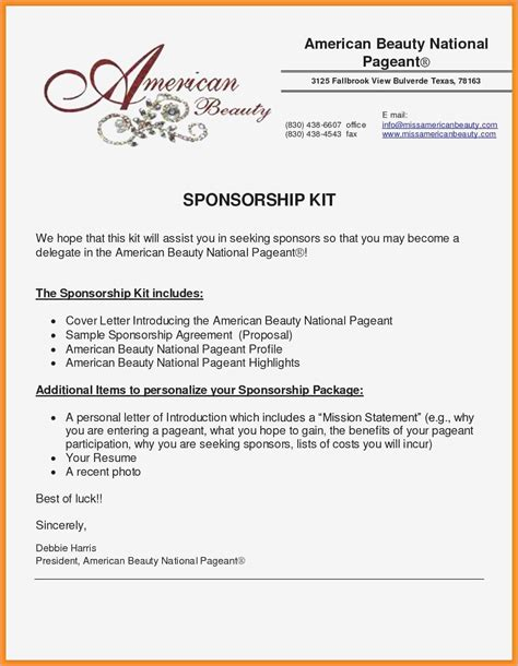 sponsorship proposal letter template collection letter
