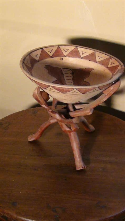 antique  african hand carved teakwood stand  hand
