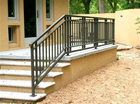 Outdoor Banisters And Railings by Wrought Iron And Wood Exterior Front Porch Railing Deck