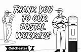 Thank Workers Key Massive Postal Colouring Wednesday Willquince sketch template