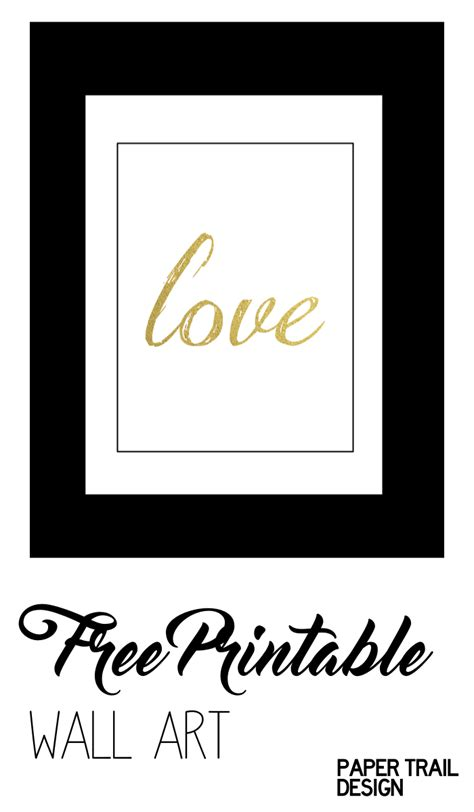 printable wall art black  gold love paper trail