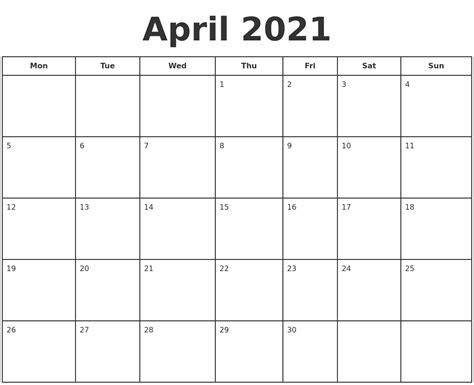 Download April 2021 Calendar Printable  Pictures