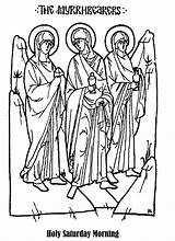 Drawing Myrrhbearers Coloring Christian Line Education Icon Drawings Bible Pages Sunday Orthodox Easter Week Holy Church Related Sketch Needs Special sketch template