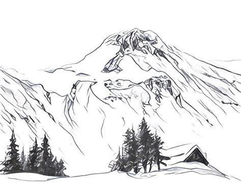 Dibujos para colorear para adultos Montañas nevadas en