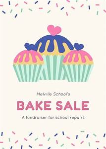 Sprinkles Border with Cupcakes Bake Sale Fundraising Flyer ...