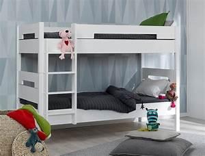 Lit superpose blanc aves deux matelas for Luminaire chambre enfant avec matelas babychou
