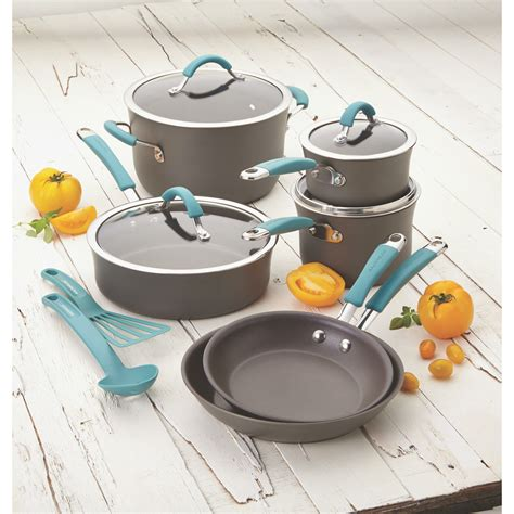 rachael ray cookware anodized cucina nonstick hard piece kitchen pc aluminum sets stick non utensils gray agave pan essentials cooking