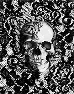 Rose skull on black lace base Art Print by Kristy