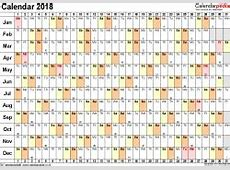 Excel Calendar 2018 UK 16 printable templates xlsx, free