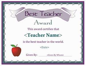 A free printable best teacher award certificate. Downloads ...