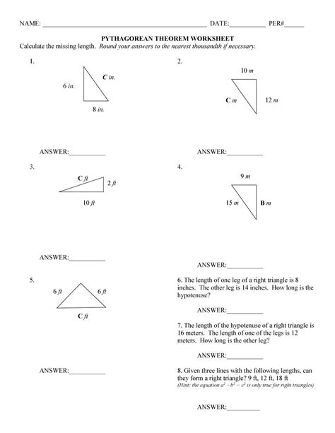 pythagorean theorem worksheet  answers word