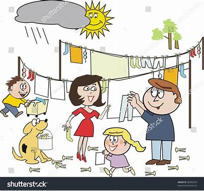 Together Working Cartoon Happy Clipart Hanging Laundry