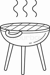 Grill Bbq Vector Line sketch template