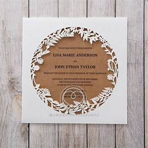 rustic forest themed wedding invitation circular laser cut With rustic laser cut wedding invitations uk