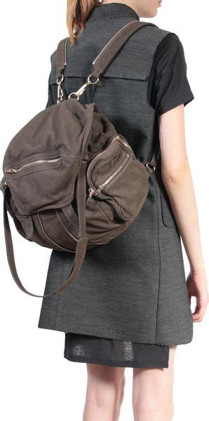alexander wang backpack marti leather  gray green lyst