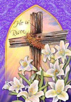 Christian Garden Flags by He Is Risen Easter Religious Cross House