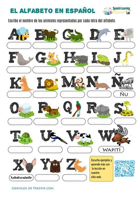 los animales  el alfabeto en espanol hoja de trabajo