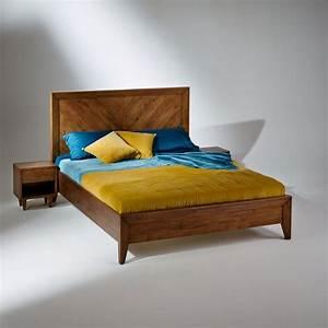 Lit En 160x200 : lit double en bois massif bradley sommier 160 x 200 cm ~ Teatrodelosmanantiales.com Idées de Décoration