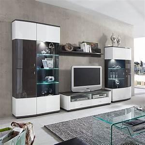 Fredriks Möbel Hersteller : wohnwand galway 4 teilig hochglanz wei grau ohne ~ Watch28wear.com Haus und Dekorationen