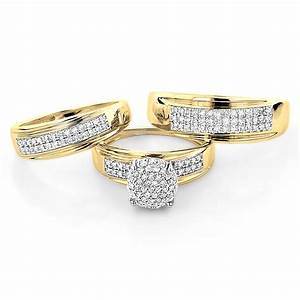10k gold engagement trio diamond his and hers wedding ring for Wedding rings his and hers sets
