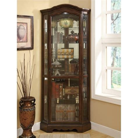 Coaster Curio Cabinet Assembly by Coaster 4 Shelf Corner Curio Cabinet In Warm Brown Oak