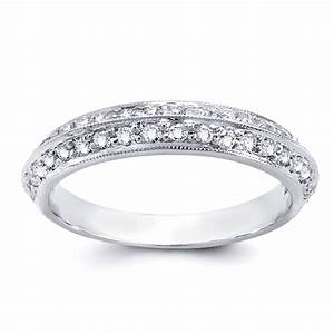 Knife Edge Round Diamond Wedding Band