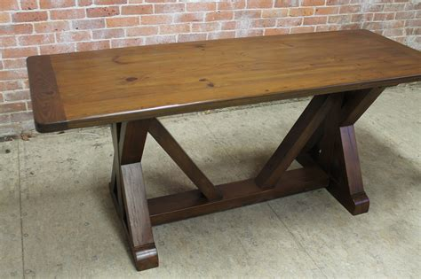 trestle table  reclaimed  pine ecustomfinishes