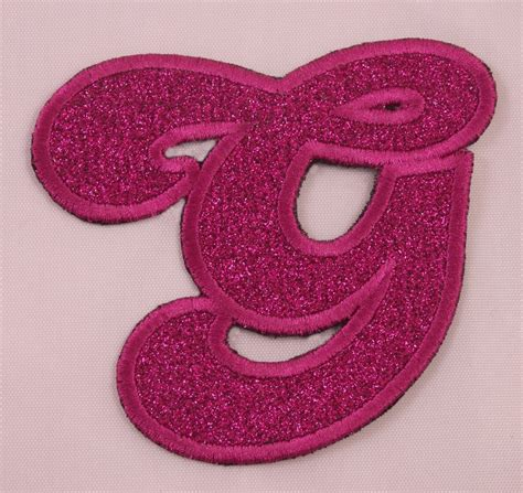 embroidered glitter pink retro bubble monogram letter  applique patch iron  ebay