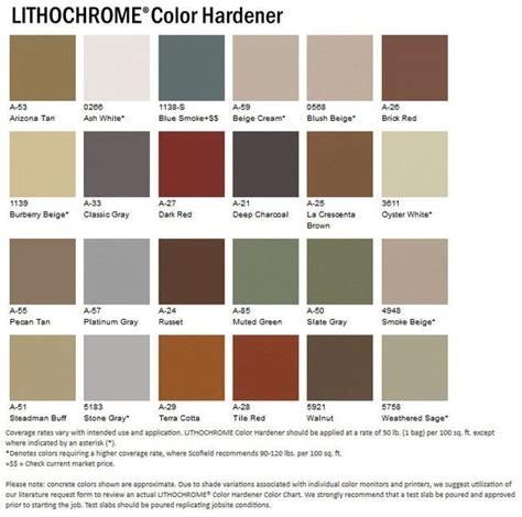 scofield color chart expressions ltd concrete color hardener scofield